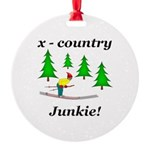 X Country Junkie Round Ornament
