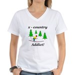 X Country Addict Women's V-Neck T-Shirt