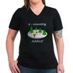 X Country Addict Women's V-Neck Dark T-Shirt