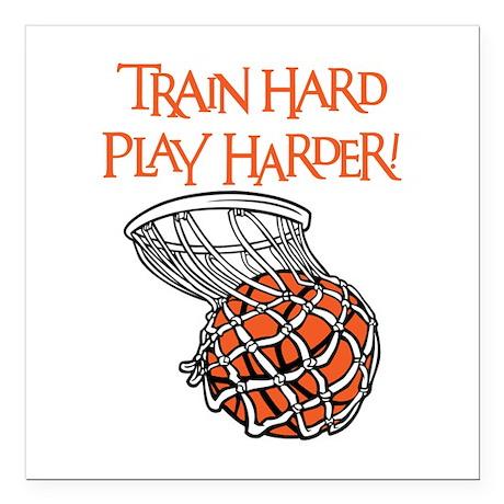 "TRAIN HARD Square Car Magnet 3"" x 3"""