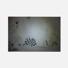 chess game drawing funny Rectangle Magnet