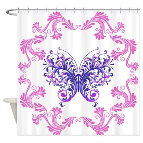 Purple Butterfly Framed Shower Curtain By Hotroddintees