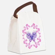 PURPLE BUTTERFLY-FRAMED Canvas Lunch Bag