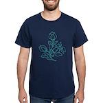 Teal Batik Flower Dark T-Shirt