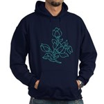 Teal Batik Flower Hoodie (dark)