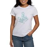 Teal Batik Flower Women's T-Shirt