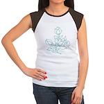 Teal Batik Flower Women's Cap Sleeve T-Shirt