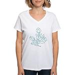 Teal Batik Flower Women's V-Neck T-Shirt
