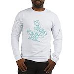 Teal Batik Flower Long Sleeve T-Shirt