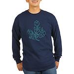 Teal Batik Flower Long Sleeve Dark T-Shirt