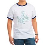 Teal Batik Flower Ringer T
