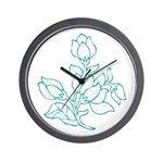 Teal Batik Flower Wall Clock