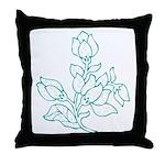Teal Batik Flower Throw Pillow