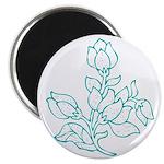 Teal Batik Flower Magnet