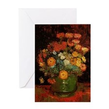 Vase with Zinnias and Geraniums, Vin Greeting Card