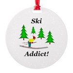 Ski Addict Round Ornament