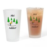 Ski Addict Drinking Glass
