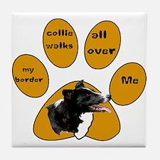 border collie walks Tile Coaster