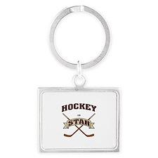 Hockey Star Landscape Keychain