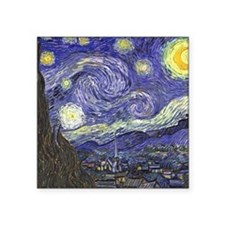 "Starry Night by Vincent van Square Sticker 3"" x 3"""