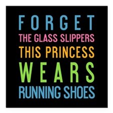 "Unique Princesses wear running shoes Square Car Magnet 3"" x 3"""