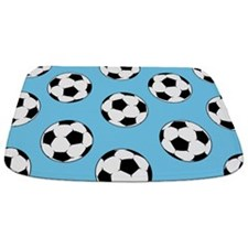 Blue Soccer Ball Pattern Bathmat
