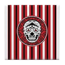 Red Black and white skull damask Tile Coaster