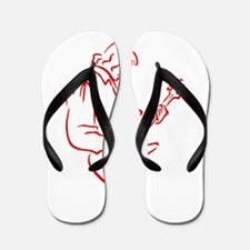 male bass player red outline Flip Flops