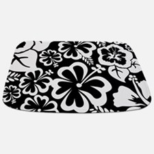 Black Tropical Flowers Bathmat