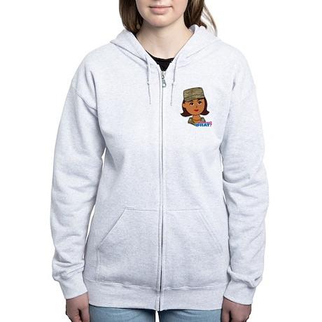 Air Force Camo Head Dark Women's Zip Hoodie