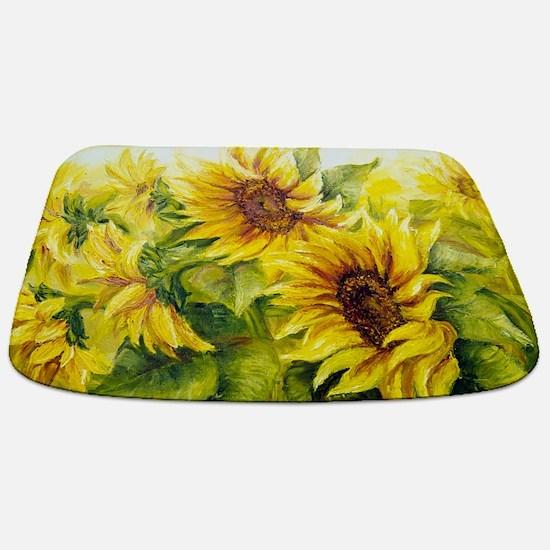 Sunflowers Oil Painting Bathmat