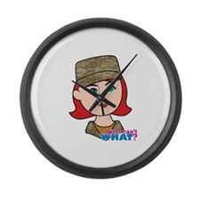 Air Force Camo Head Red Large Wall Clock