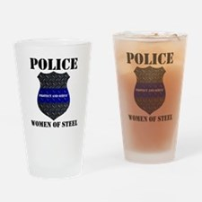 Police Women Of Steel Badge Drinking Glass