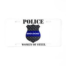 Police Women Of Steel Badge Aluminum License Plate