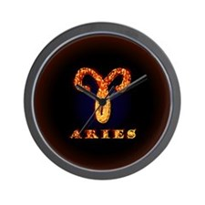 Aries Zodiac Symbol Wall Clock