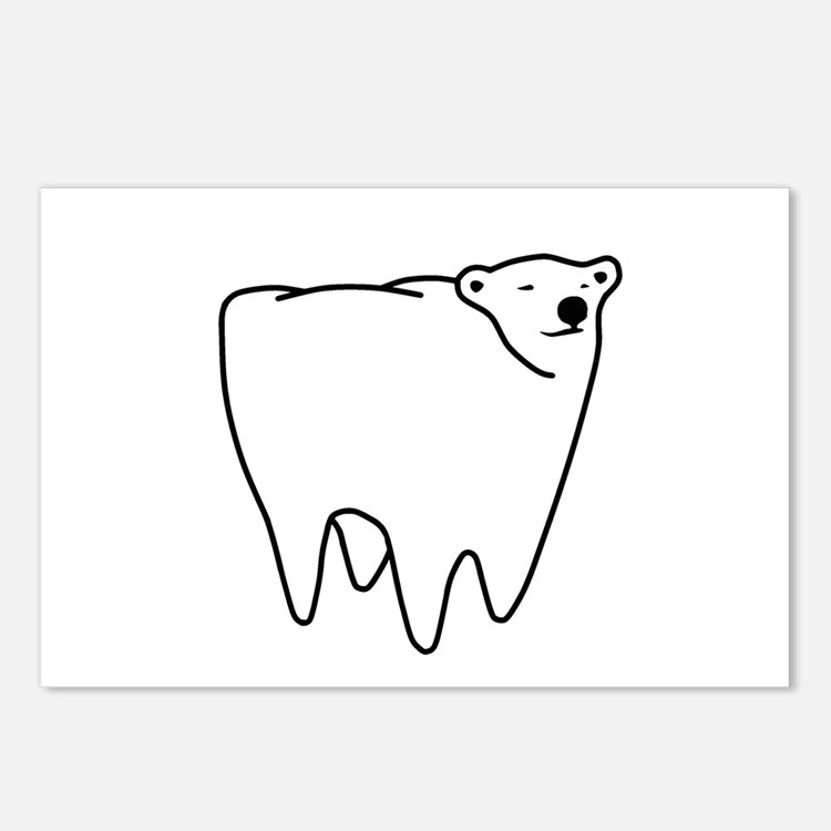 Molar Bear Polar Tooth Bear Postcards (Package of