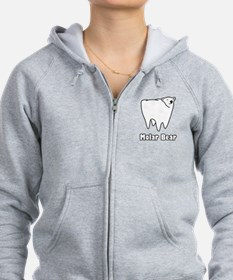 Molar Bear Polar Tooth Bear Zip Hoodie