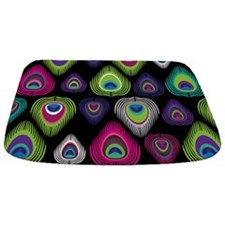 Colorful Peacock Feathers Bathmat