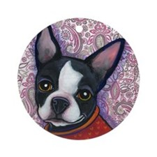 Boston Terrier Peggy Ornament (Round)