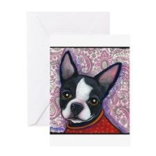 Boston Terrier Peggy Greeting Card