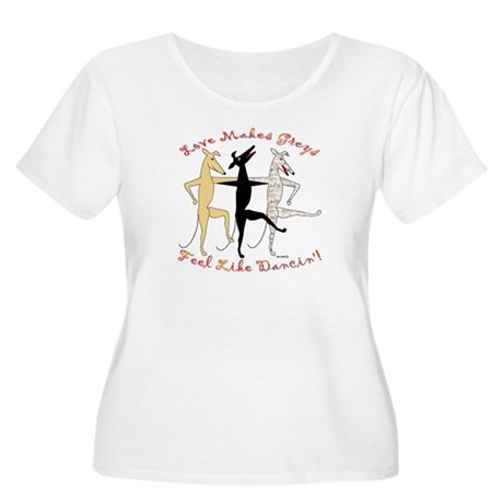DANCIN' WOMENS PLUS SIZE WHITE SCOOP NECK TEE