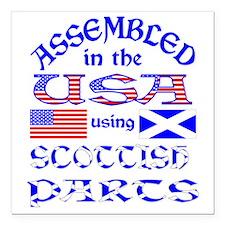 "USA / Scottish Parts Square Car Magnet 3"" x 3"""