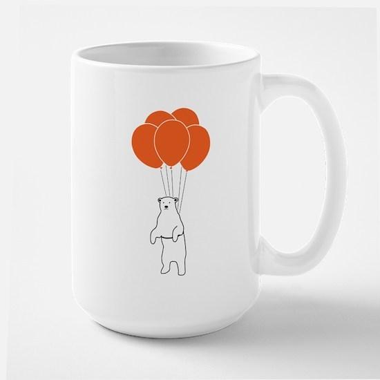 Flying Polar Bear with Birthday Balloons Mugs