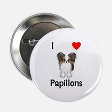 """I Love Papillons (pic) 2.25"""" Button"""