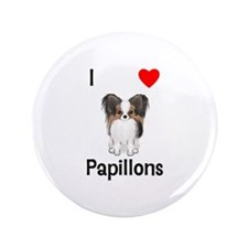 """I Love Papillons (pic) 3.5"""" Button"""