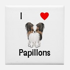 I Love Papillons (pic) Tile Coaster