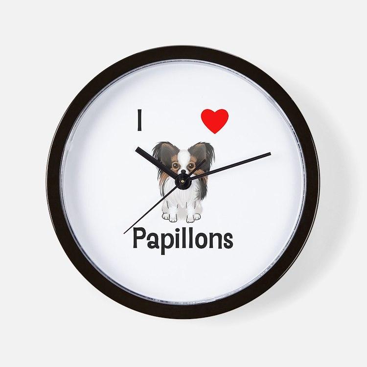 I Love Papillons (pic) Wall Clock