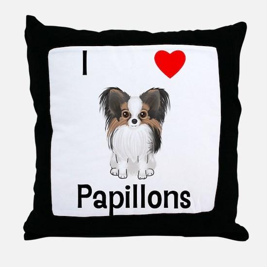 I Love Papillons (pic) Throw Pillow
