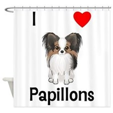 I Love Papillons (pic) Shower Curtain