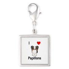 I Love Papillons (pic) Silver Square Charm